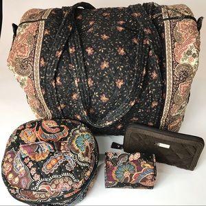 Vera Bradley Brown Duffel 4 Piece Travel Set